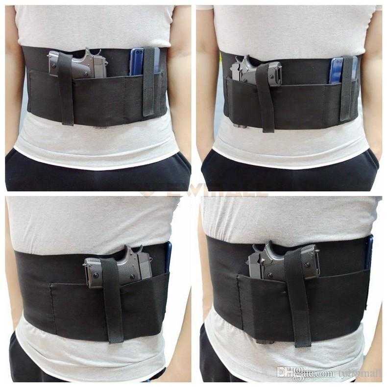 Belly Band Gun Holster Concealed Carry Holster with Magazine Pocket/Pouch  Elastic Straps for Women Men