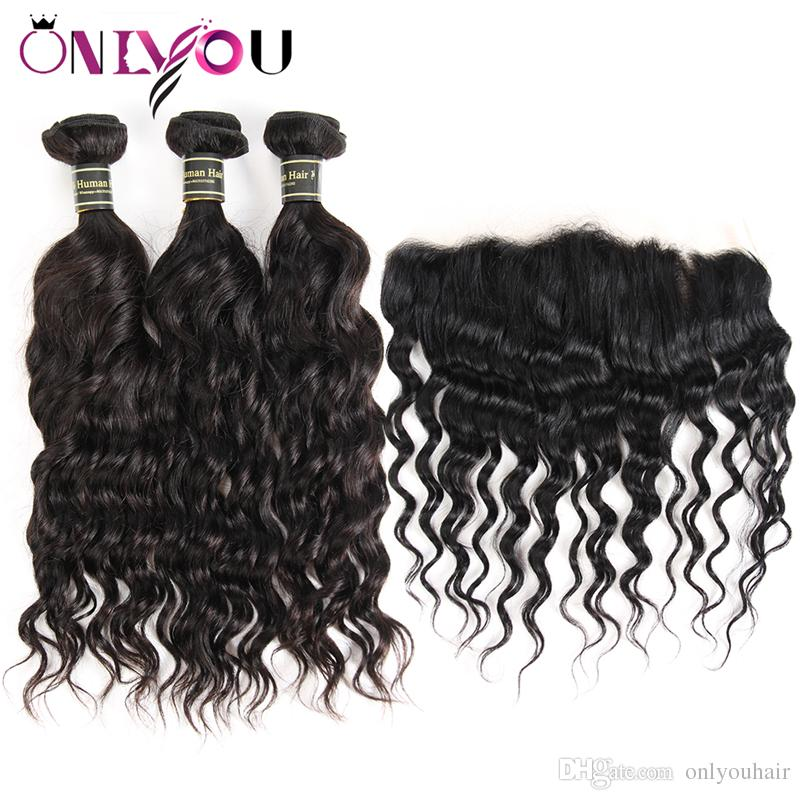 Unprocessed Brazilian Virgin Human Hair Weave 3 Bundles with Lace Frontal Deep Body Wave Kinky Curly Hair Extensions Frontal Weaves Closure