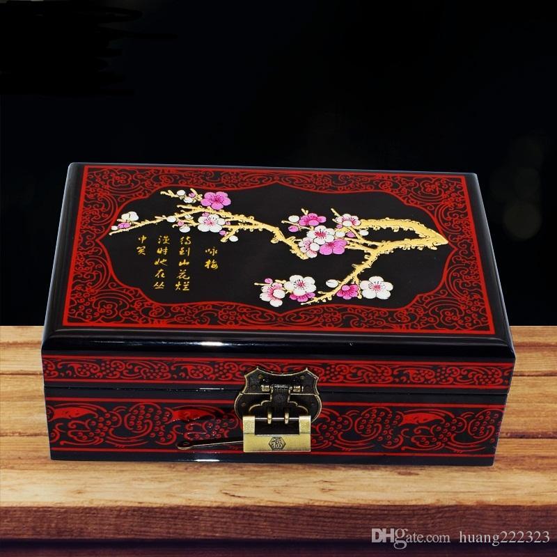 럭셔리 웨딩 보석 상자 디자인 매화 꽃 그림판 빨간 벨벳 보석 저장 상자 경우 보석 포장 선물 상자