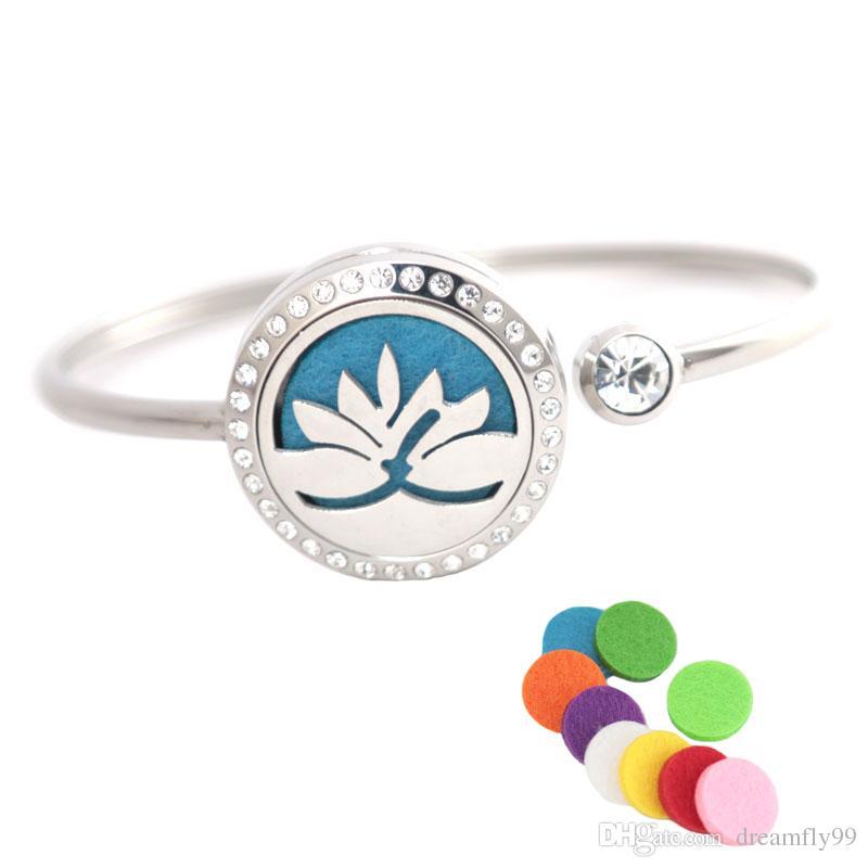 25mm Lotus Edelstahl Aromatherapie Medaillon Armband Armreif ätherisches Öl Diffusor Medaillon Armband mit Filz Pads