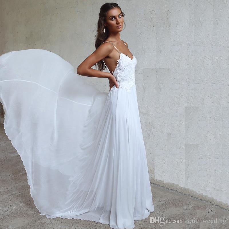 Beach Spaghetti Strap Wedding Gown: Discount LORIE Beach Wedding Dresses Spaghetti Straps 2018