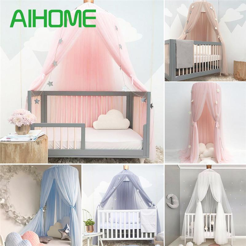 Children Dome Fantasy Champion Mosquito Net Play Tent Bed Canopy Mosquito Net Bedding With Round Lace Baby Boys Girls Games