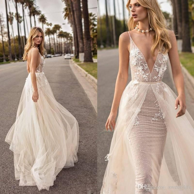 dbba778d4c49 Berta 2018 Mermaid Overskirts Wedding Dresses Sexy Deep V Neck Backless Lace  Tulle Tiered Skirts Boho Country Custom Made Bridal Gowns Vintage Bridal  Gowns ...