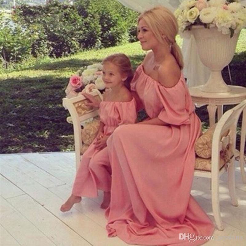 Summer Chiffon Dresses Mommy and Me Boho Dresses Family Matching Clothes Outfits Short Sleeve Dresses For Mother Me