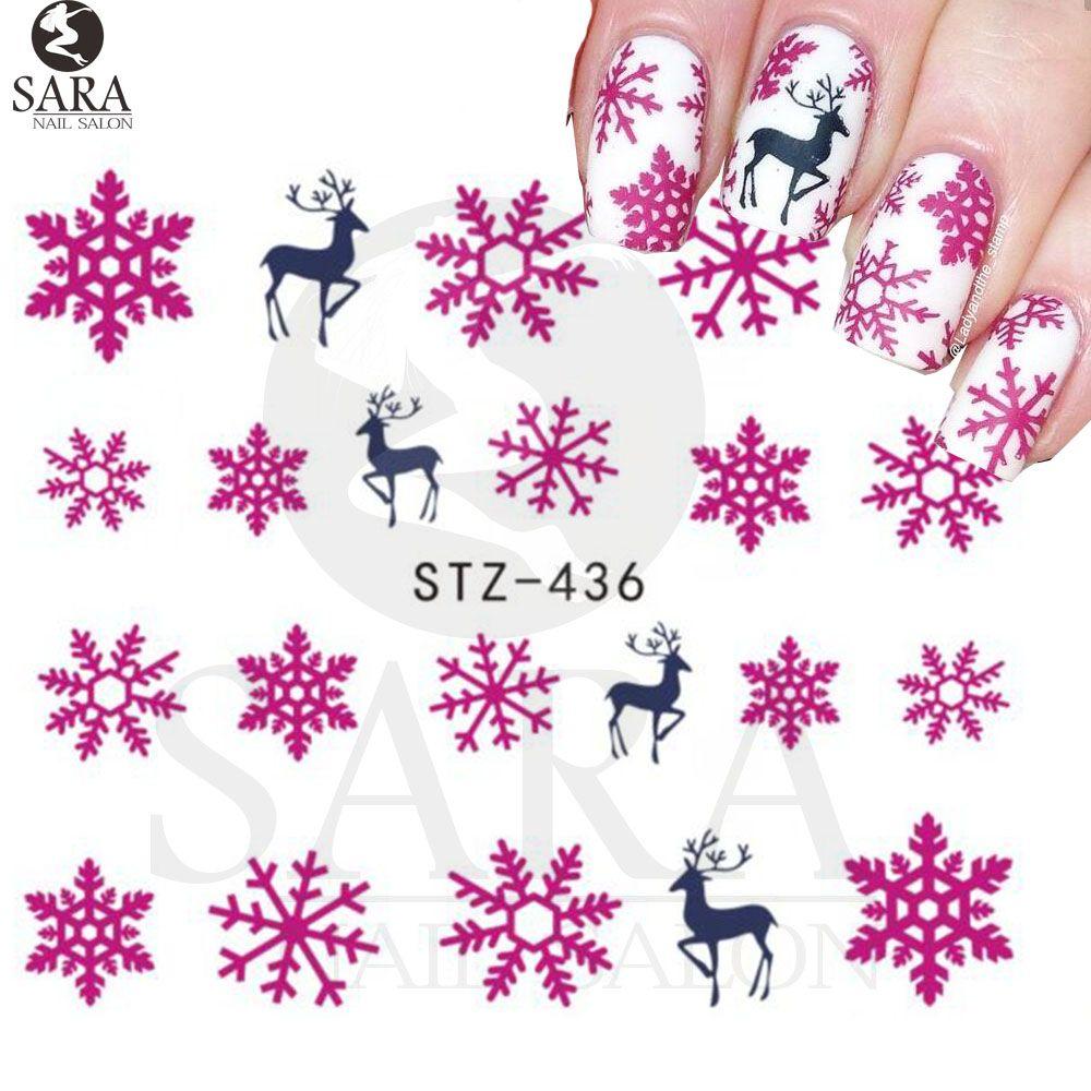 Nail Salon 1sheet Xmas Christmas Nail Art Water Decals Pink