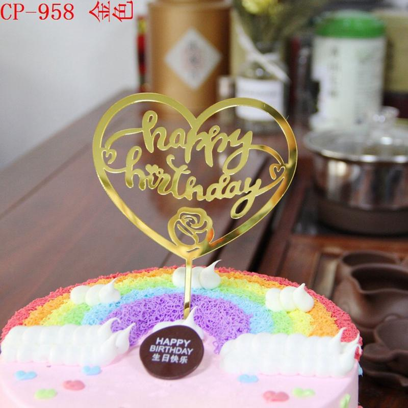 Of 20 Happy Birthday Cake Topper Love Heart Acrylic Mirror Decoration From Hongxuanstore007 3777