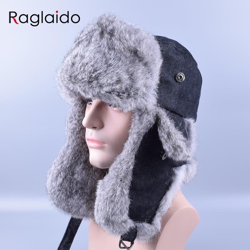 40fe17490ab 2019 Raglaido Fur Hats For Men Bomber Hat Rex Rabbit Fur Mens Winter Warm  Hat Russia Snow Caps Ear Flaps Bomber LQ11181 From Raglaido