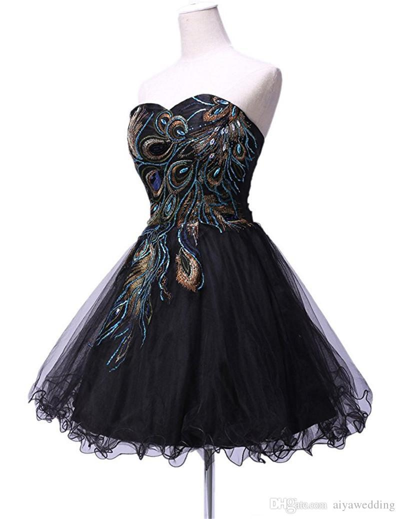 2019 Short Cocktail Party Black Girl Peacock Appliques A Line Vestidos Para Formatura Short Homecoming Dresses