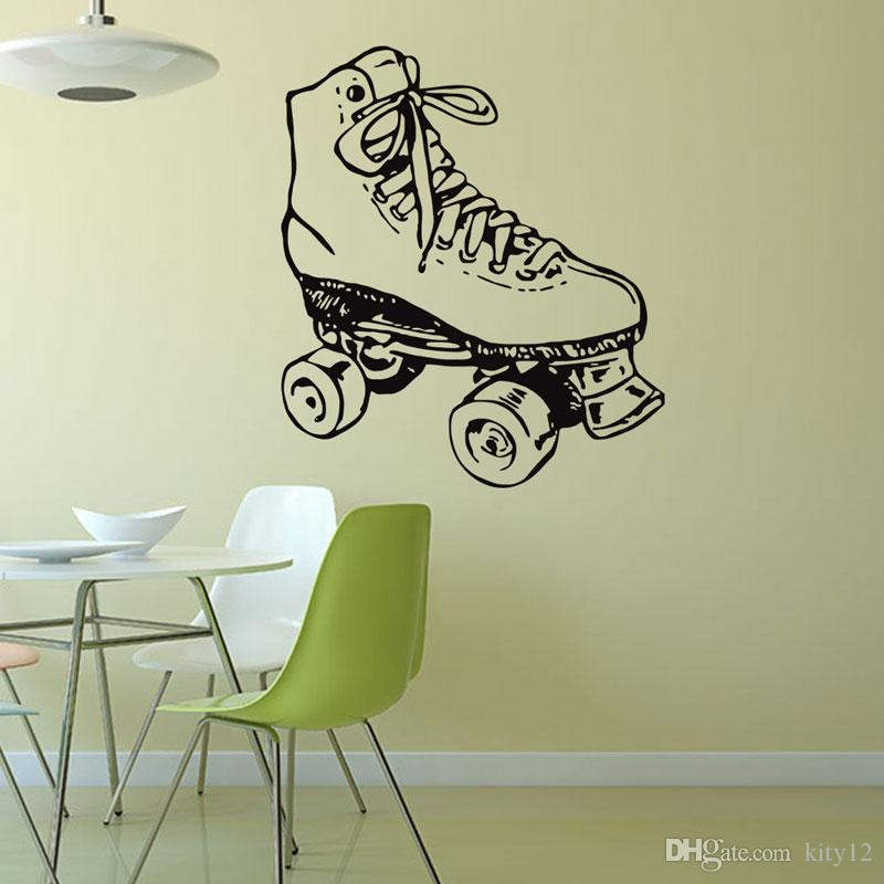 New Vinyl Sticker Sport Figure Skating Club Dancing Skater Wall Decal Ice Skating School Children Room Decor Mural