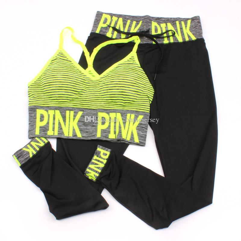 Pink Letter Print Tracksuits Women Sport Suit Sets Two Piece Set pink Outfits Tracksuit Sportswear Tracksuit Pattern Bra+ Ninth Pant 4 color