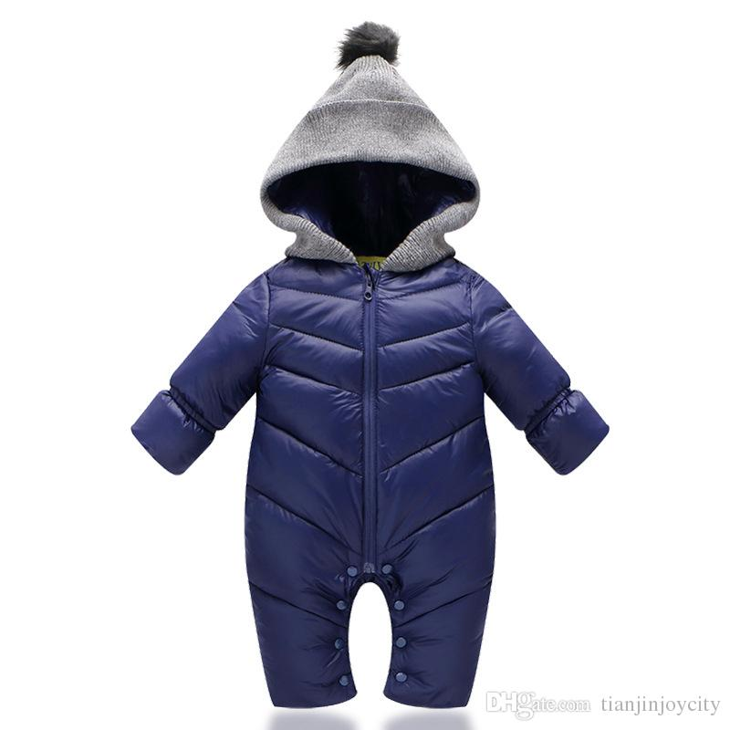 05c5d681b167 Toddlers Snowsuit Winter Baby Boys Rompers Warm Overalls For Baby ...