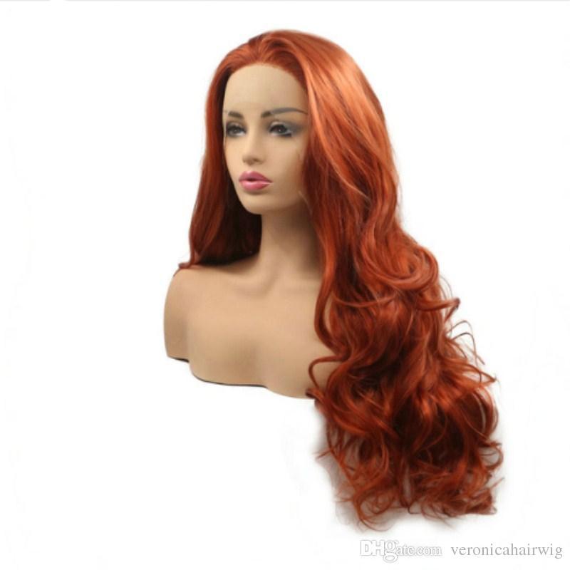 Freies Verschiffen Lose Wellen Lange Haar Kupferne Rote Dunkle Orange Perücke Hitzebeständige Synthetische Spitze Front Perücken Für