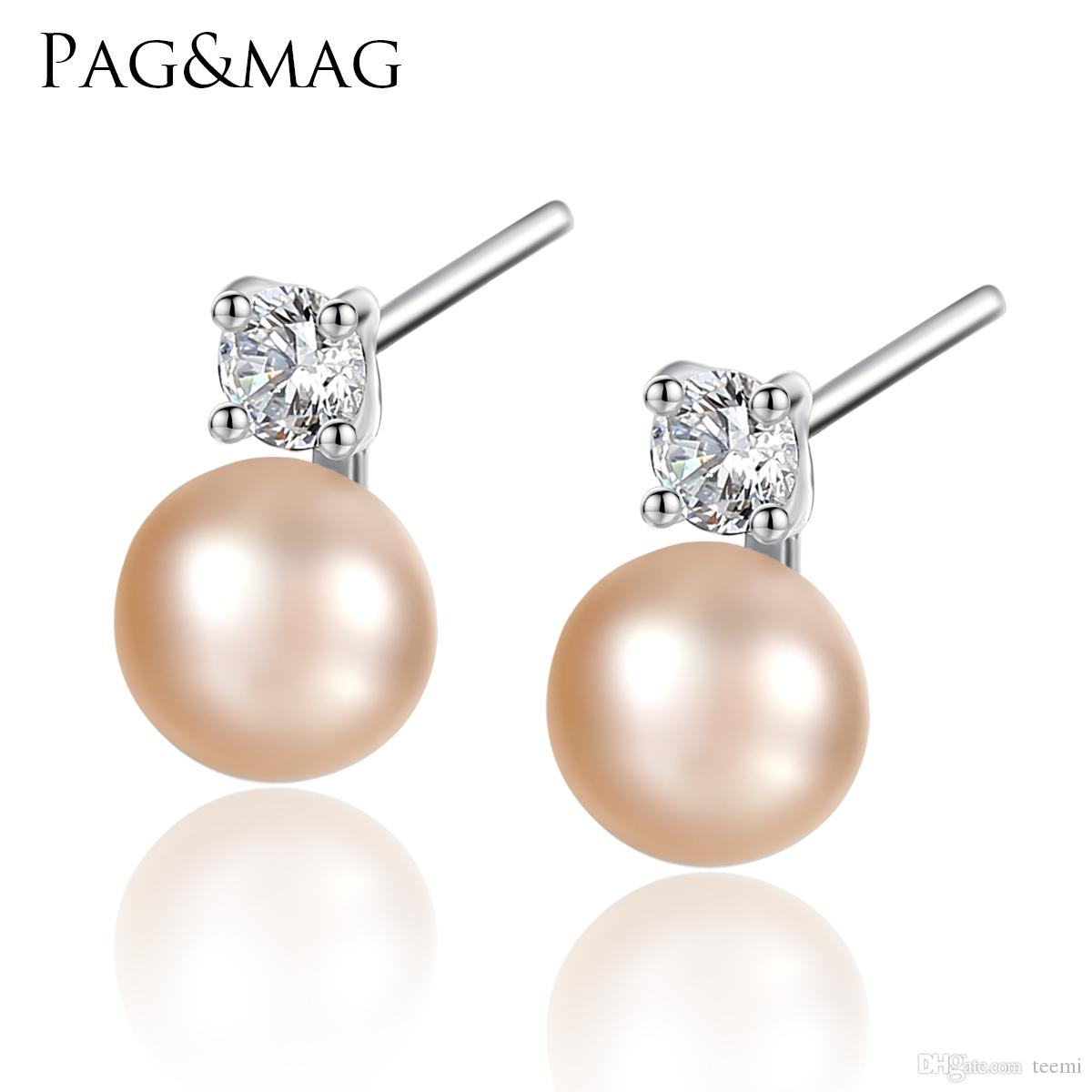 cadf36b4b PAG&MAG Natural Pearl And 925 Sterling Silver Stud Earrings Fashion ...