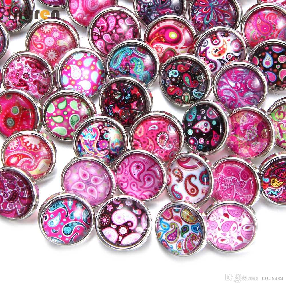 New / Mixed Colors Cabochon12mm Mini Glass Snap Button Fit 12mm ...