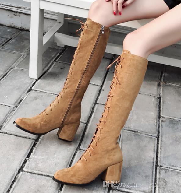 535578fd7d3 Lena ViVi knee high chunky heels boots brown black lace up shoes synthetic  suede 7.5cm size 35 to 40