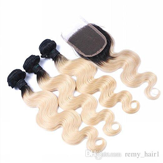 # 1B / 613 Blonde Ombre Capelli peruviani vergini 3 Bundle offerte con chiusura dell'onda corporea peruviana dei capelli umani tesse l'estensione con chiusura in pizzo 4x4