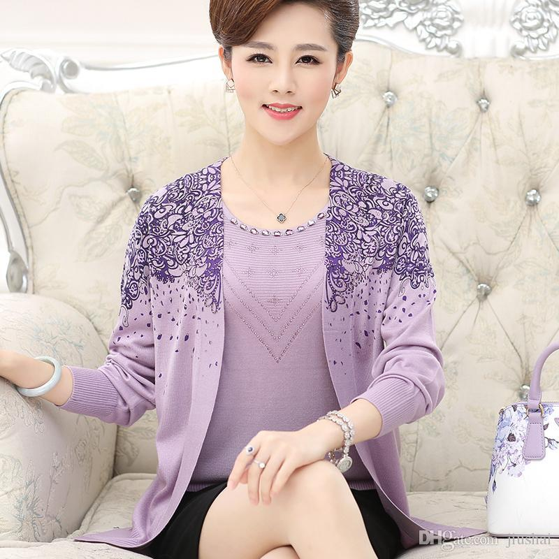 7c252bec8ac1b Wholesale- New 2016 Autumn Sweater Middle-aged Middle-aged Female ...