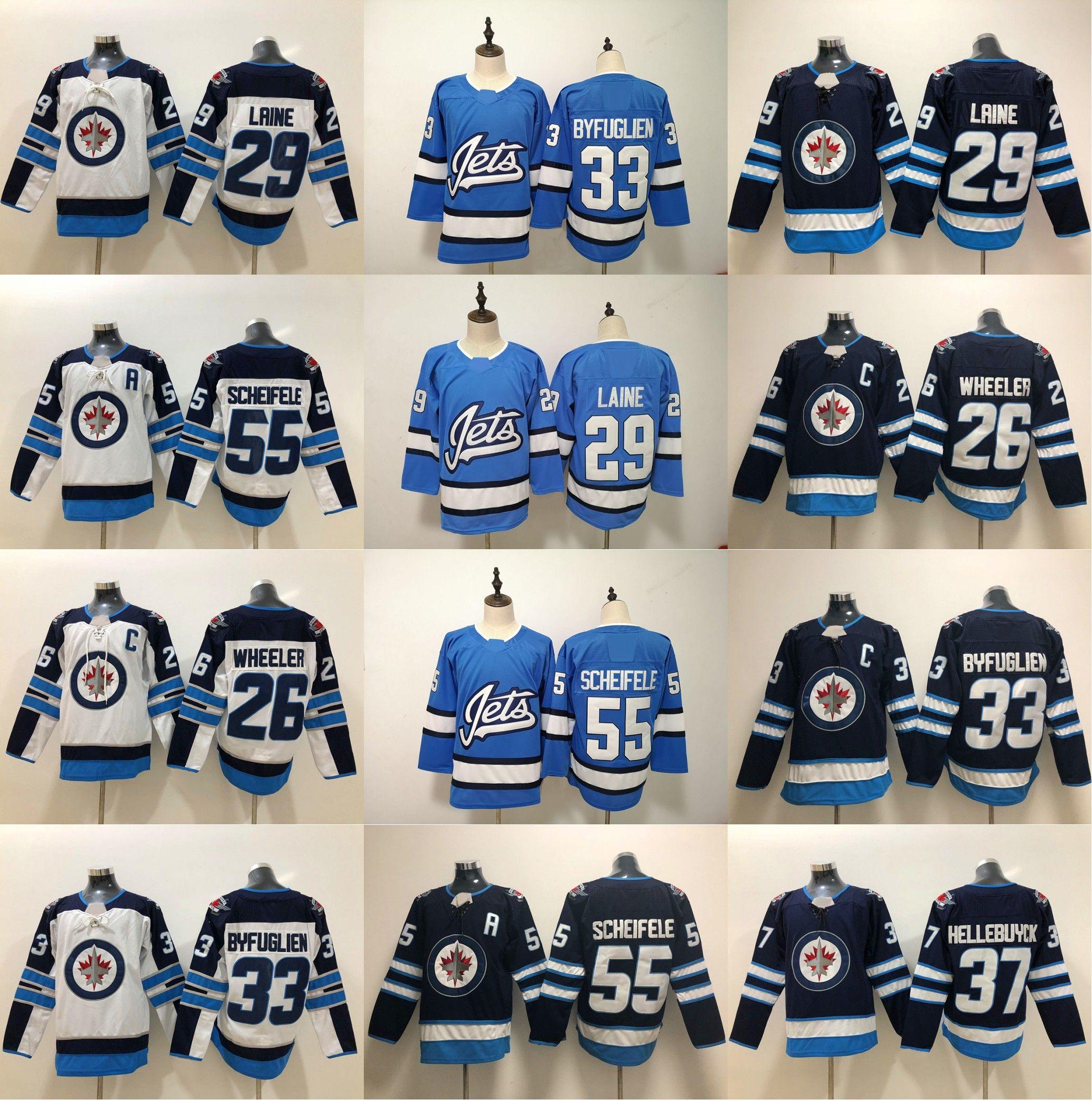 the latest 66f7d 921e8 2018-19 New Winnipeg Jets Jerseys 37 Connor Hellebuyck 29 Patrik Laine 33  Dustin 55 Mark Scheifele 26 Blake Wheeler Hockey Jerseys