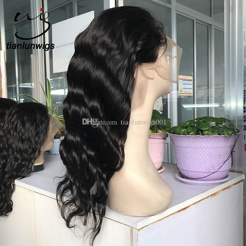 high quality brazilian human hair wig 8-22 inch natural color body wave full lace wig 150% heavy density women hair wig