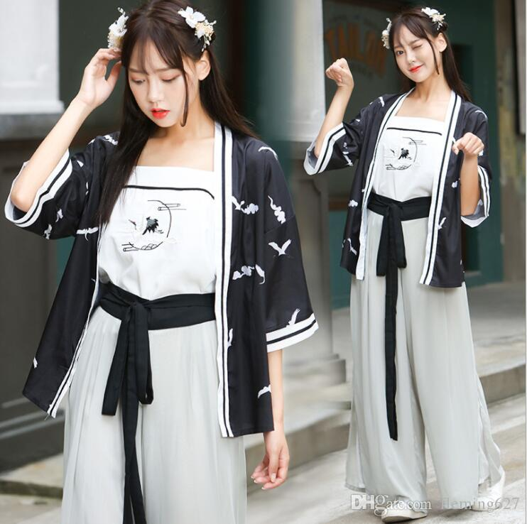 29f9c2e9be 2019 Improved Chinese Style Hanfu Women S Jacket + Sling + Pants China Tang  Song Ming Elements Ancient Clothing Girl Lady Fairy Costume From  Fleming627
