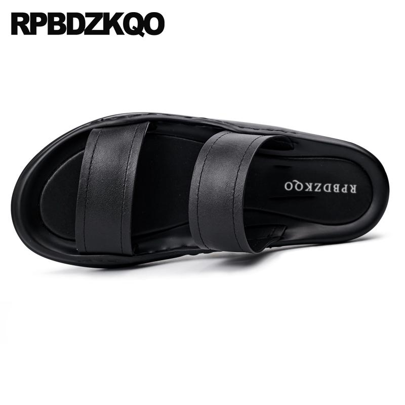 4cb2831a27f5 Casual Shoes Leather Mens Sandals 2018 Summer Outdoor Beach Black Men  Fashion Flat Designer Breathable Slides Slip On Slippers Comfortable Shoes  Discount ...