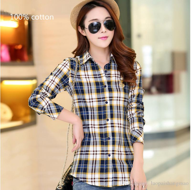 New women's checked shirts, long sleeved lapel, single breasted, cardigan dress, pure cotton, large size women's sunshirt shirts.