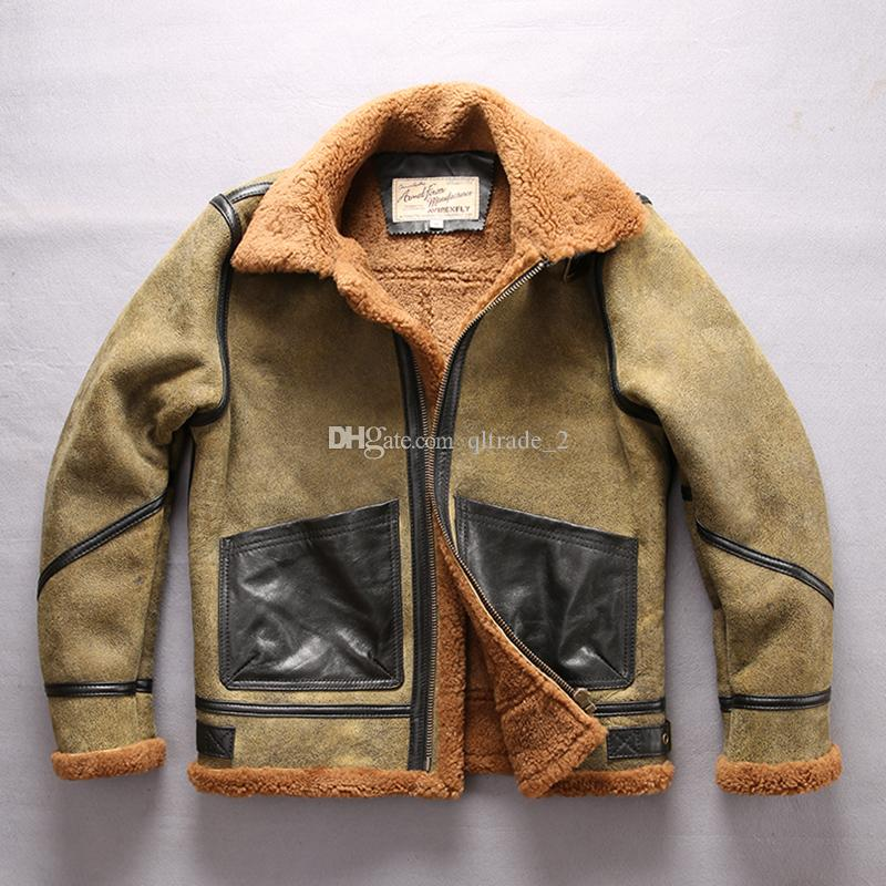 a0d15c1b6 2018 Lamb fur lining men sleepskin leather jackets stand collar army green  flight jackets for sale