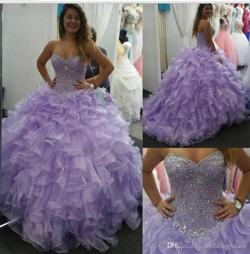 edfe10c4db Lavender Sweet 16 Quinceanera Dresses 2019 Luxurious Crystals Beaded Ruffles  Organza Ball Gown Prom Dresses Formal Party Gowns Wear Cheap Quinceanera ...