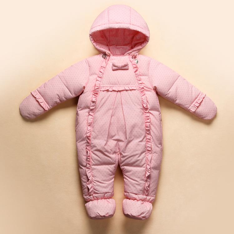 b425e2ad4 New 2017 Baby Winter Romper Down Feather One Piece Newborn Baby Girl ...