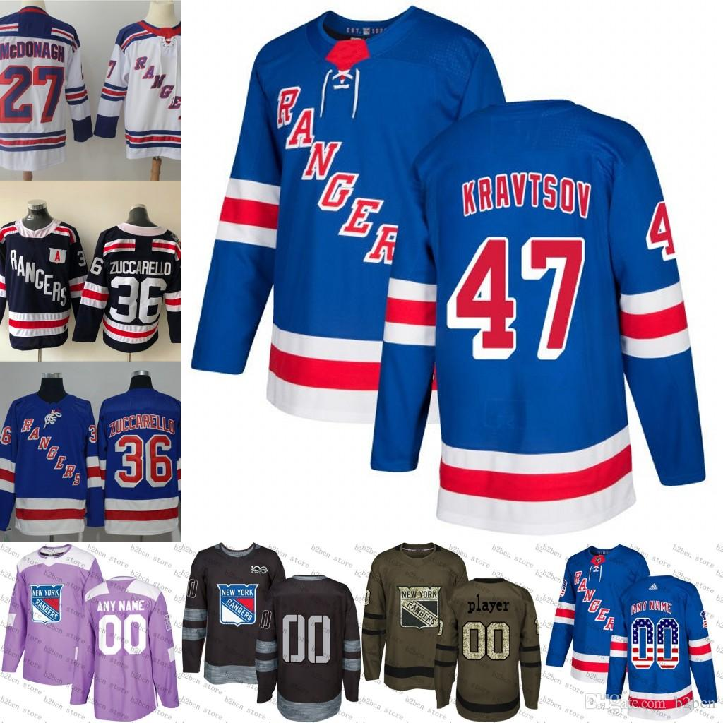 timeless design 17431 6f9f3 2018 New York Rangers 47 Vitali Kravtsov Hockey Jersey 2018 Winter Classic  Navy Blue White purple black army green camo Stitched S-3xl