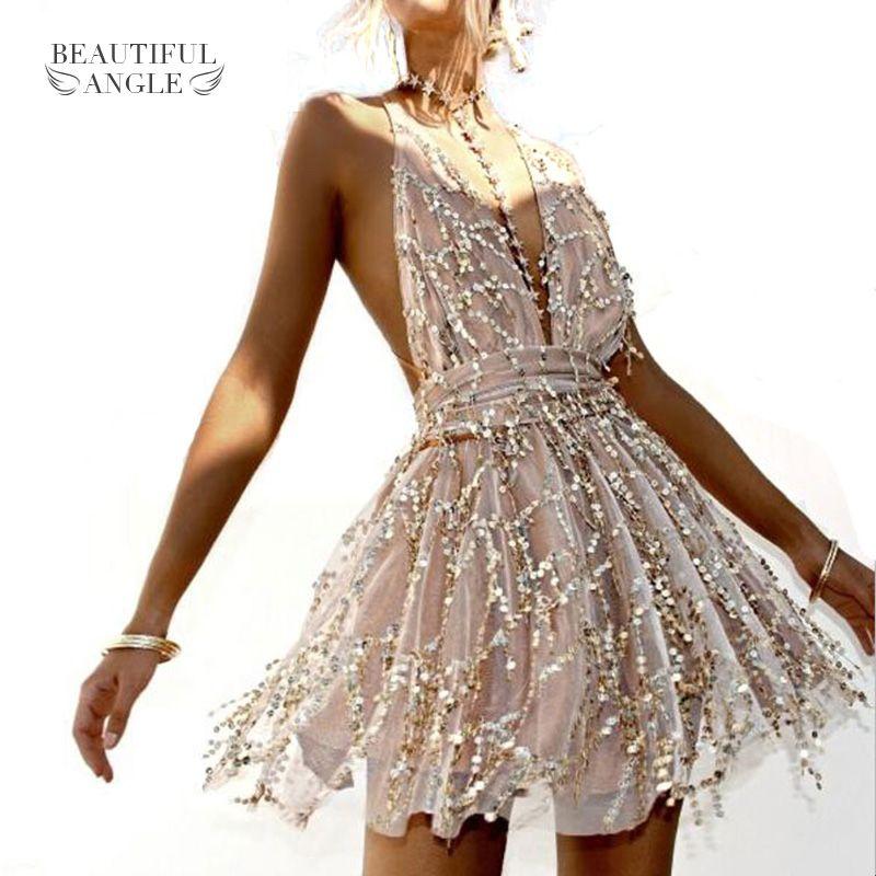 c74cbcd86c9 2019 Women Backless Dress 2018 Summer Sleeveless Straps Party Hippie Dresses  Tassel Sequins Backless Sexy Dresses Beach Short Dress From Vanilla10