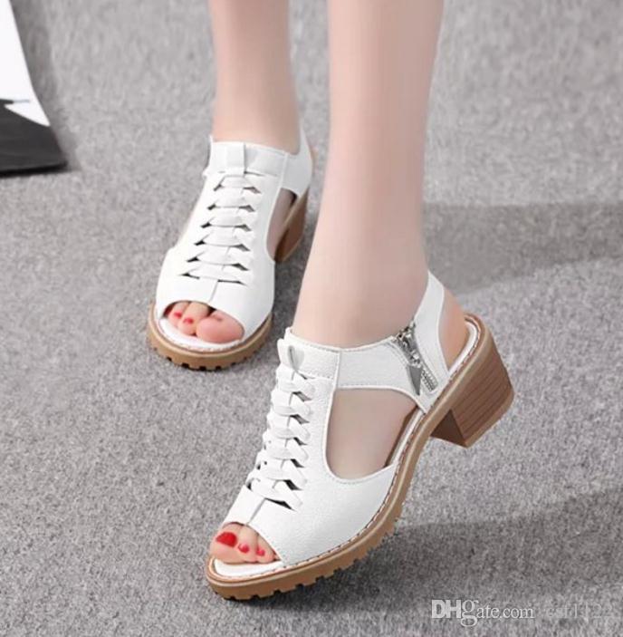 2018 сандалии водонепроницаемая платформа в конце Женские сандалии рыба голова сторона молния ретро обувь