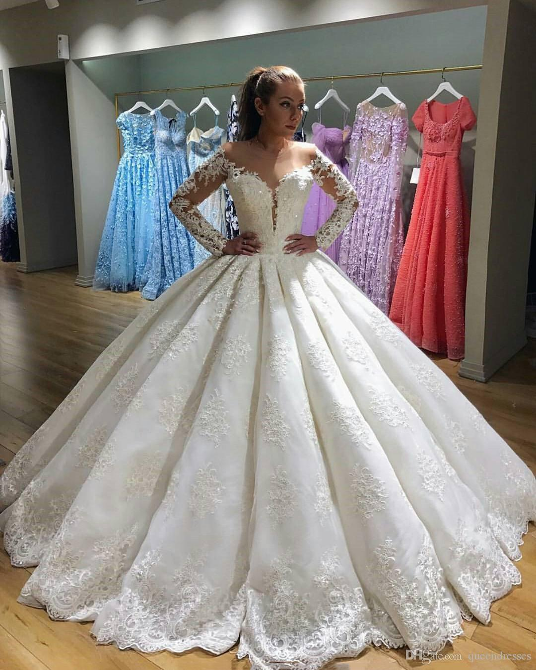Luxury Lace Long Sleeve A Line Wedding Dresses Off Shoulder Floor Length Princessin Beaded Wedding Gowns Bridal Dresses Custom Made Online