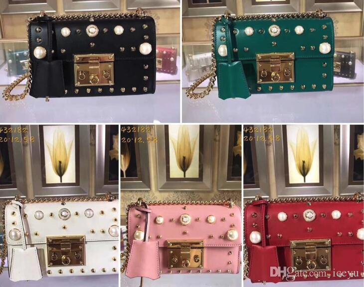 68b947d1821a Womens 432182 Padlock Small Pearls Studded Shoulder Bag Leather+Canvas  Sliding Chain Strap Bag with Box Dust Bag Women Bags Genuine Leather Bags  Shoulder ...