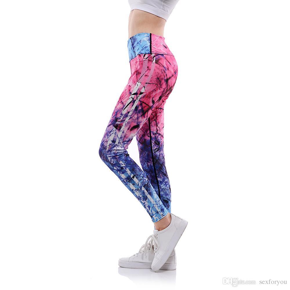 868dbf7cd4 2019 High Waist Women Yoga Pants Fitness Leggings 3D PINK Blue Print Fitness  Women Clothing Women Sports Pants Plus Size From Sexforyou, $14.08 |  DHgate.Com