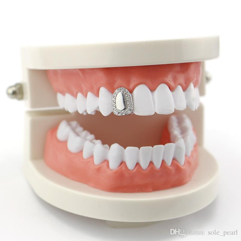 Hiphop grillz Single Metal Tooth Grillz Gold silver Color Dental Grillz Top Bottom Teeth Caps Body Jewelry for Women Men Fashion Vampire