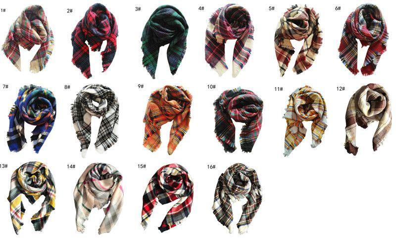 100x100 cm Crianças inverno tartan xadrez cachecol cashmere Grid Borla envoltório lenço oversize lenço de manta de moda lenço cobertor para meninas quente