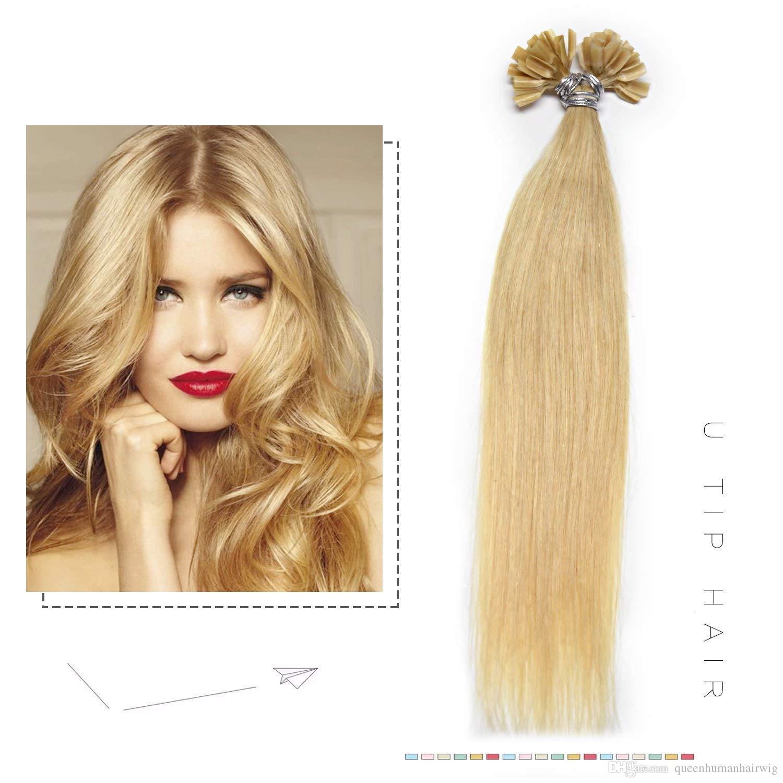 12 28 Inch 100g U Tip Human Hair Extensions Keratin Fusion Nail Tip