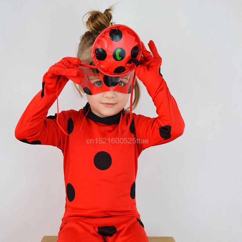 466306ff3f0763 Trajes Cosplay 3 PCS Macacão Máscara Saco para Crianças e Adulto Completo  Lycra Terno Lady Bug Crianças Halloween