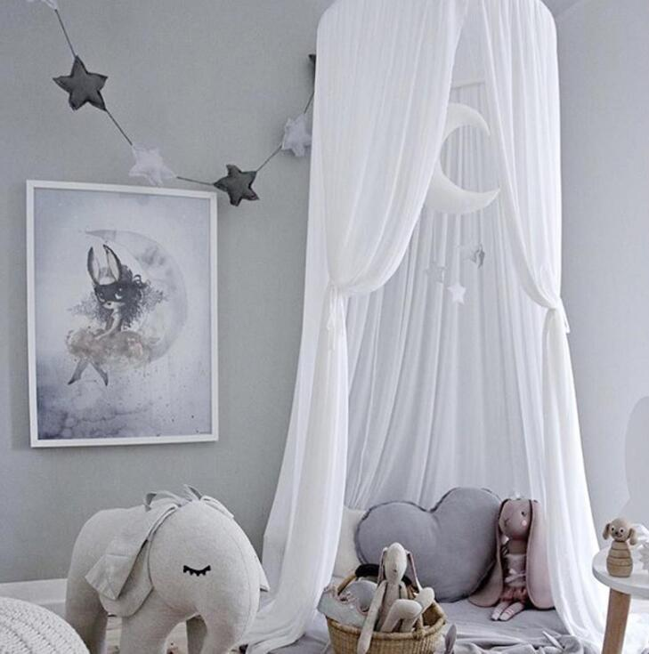 Atacado-Kid Bed Dossel Cortina Redonda Dome Pendurado Mosquiteiro Tenda Cortina Moustiquaire Zanzariera Baby Playing Home Klamboe