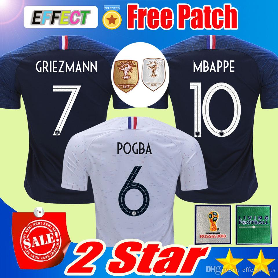 Großhandel France Soccer Trikot Fußball Shirt 2 Sterne Zwei Sterne Francais  Fußball Shirts 2018 Fußball Trikot Der Mannschaft Griezmann Pogba KANTE  DEMBELE ... 65019cbed
