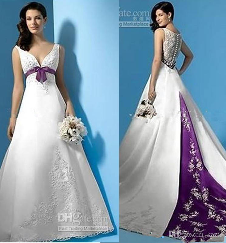 Discount Best Selling White And Purple Satin A Line Wedding Dresses ...