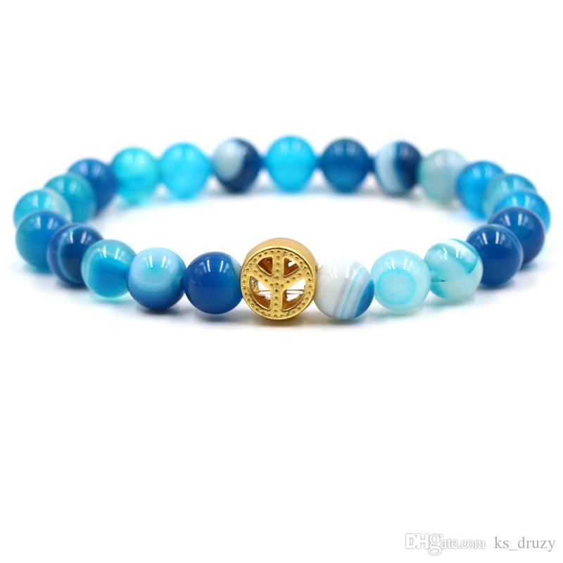 New World Peace Symbol 8mm Natural Stone Beads Elastic Bracelet Mantra Prayer Buddha Beaded Hand Strings