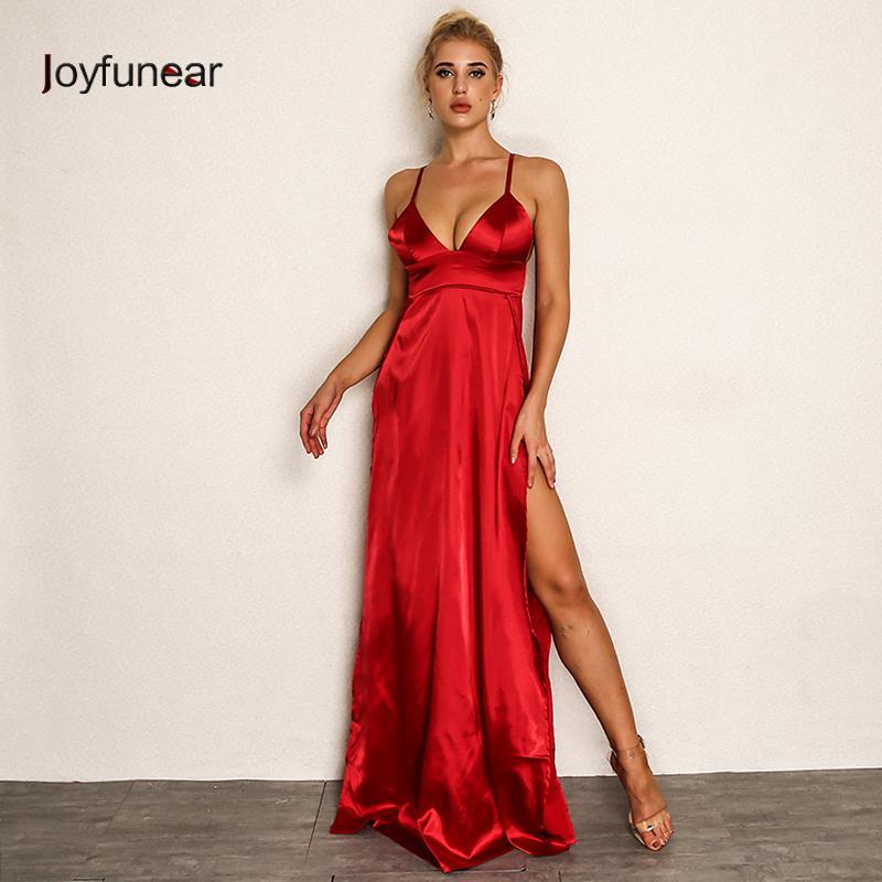 Acquista 20187 Joyfunear 2018 Donne Abito Lungo Rosso Con Scollo A V A  Spacco Sexy Abiti Da Festa Estate Maxi Vestito Di Alta Qualità S M L XL  Clubwear A ... 5f9f149cf9c