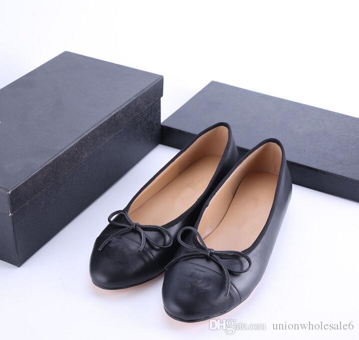 Designer Classic Beige Black Red Flats Women Ballet Loafers Many