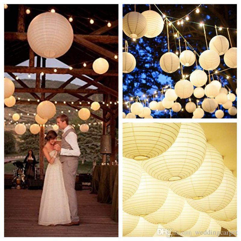 Round Chinese Paper Lantern Birthday Wedding Party decor gift craft DIY lampion white hanging lantern ball party supplies