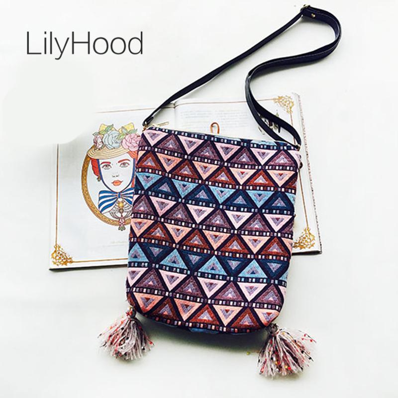 60b8ee25fa9 LilyHood Handmade Fabric Shoulder Bag Female Fringe Ethnic Tribal Aztec  Gypsy Bohemian Boho Chic Soft School Crossbody Bag