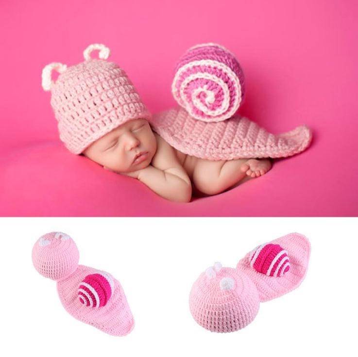 34e477708e7d9 Newborn Photography Props Baby Snails Hat Costume Pink Knitted Beanies  Infant Photography Accessories