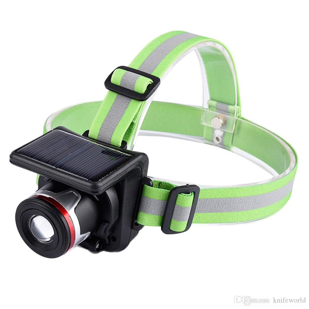 Focus Adjustable LED Headlamp Built-in Rechargeable Li-ion Battery with Solar Panel Waterproof Headlight with Wall Charger