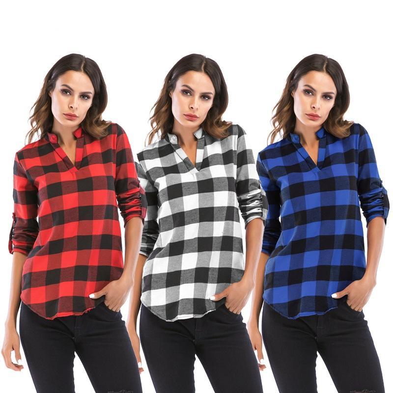 2c5e43ec8 Compre 2018 Camisa De Otoño Para Mujer Camisa Escocesa Con Cuello En V S  6XL Camisa De Manga Larga Y Talla Grande Blusas Para Mujer A  11.99 Del  Hopeforth ...